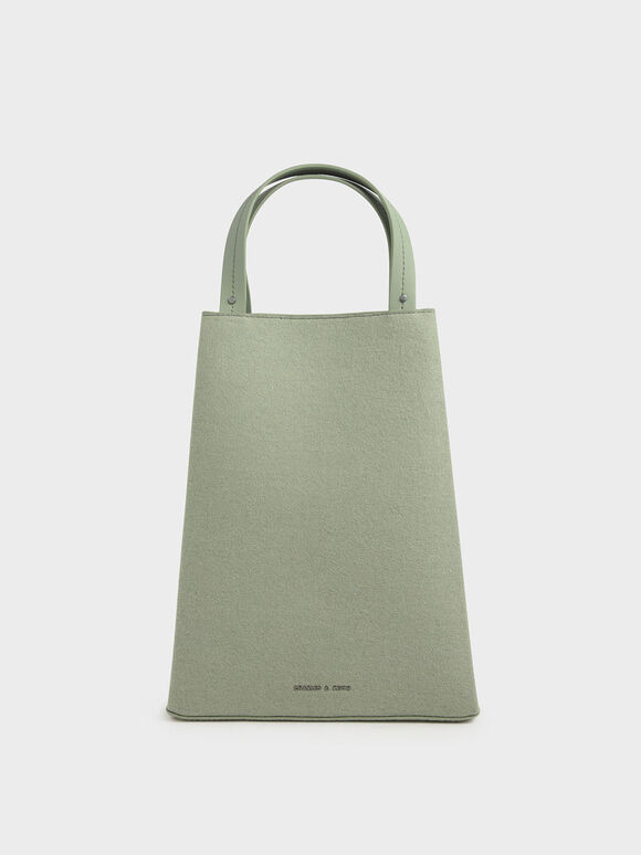 Elongated Felt Top Handle Bag, Sage Green, hi-res