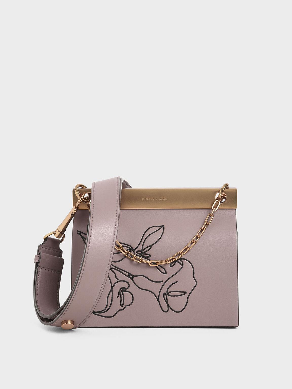 Floral Embroidered Chain Handle Bag, Mauve, hi-res