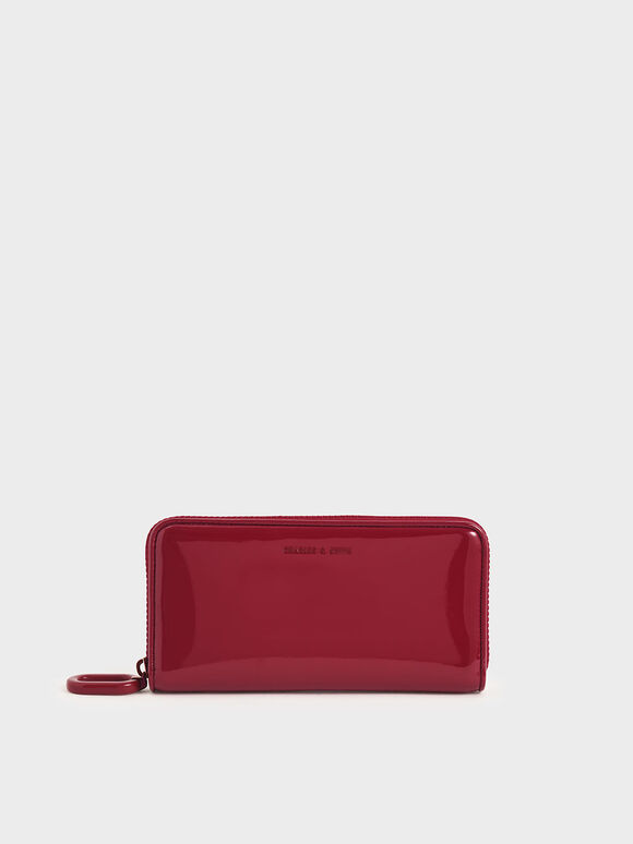 Patent Zip-Around Long Wallet, Red, hi-res