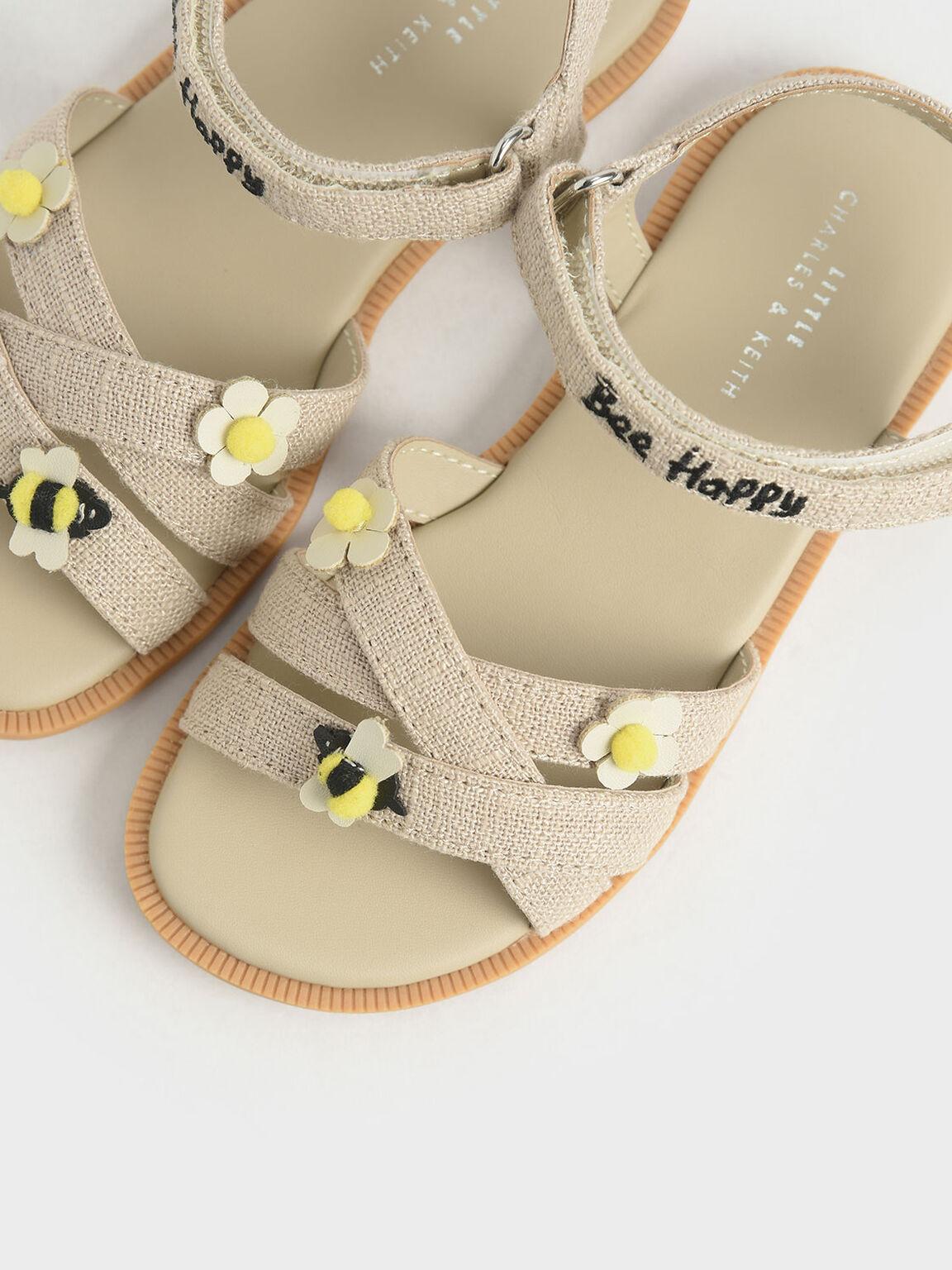 Summer 2020 Responsible Collection: Girls' Bee Motif Flat Sandals, Beige, hi-res