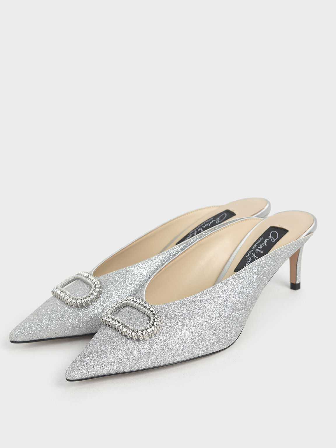 Wedding Collection: Glitter Embellished Mules, Silver, hi-res