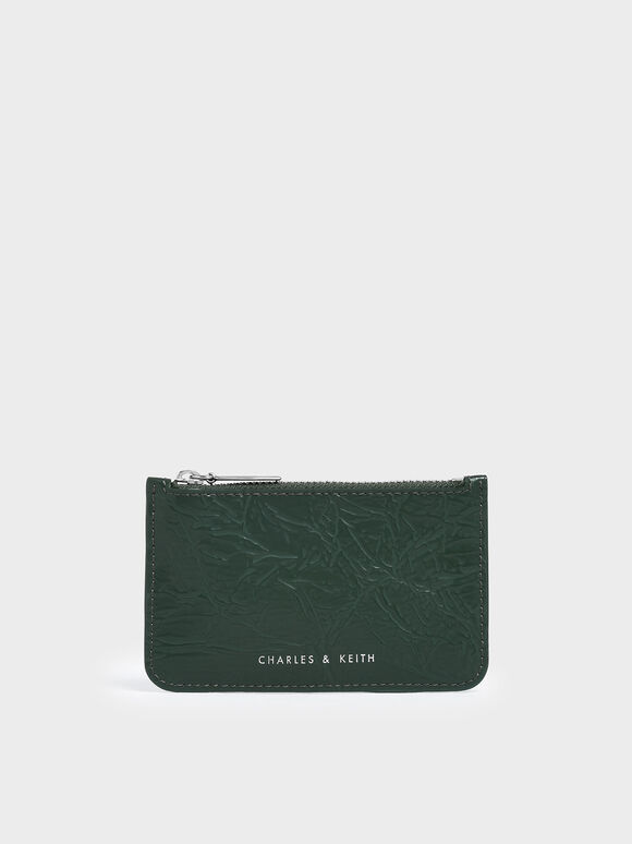 Wrinkled Effect Top Zip Cardholder, Dark Green, hi-res