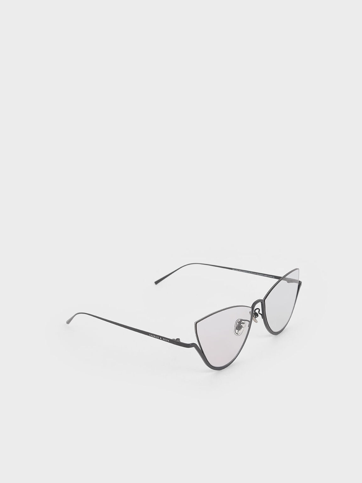 Half Frame Cat-Eye Sunglasses, Grey, hi-res