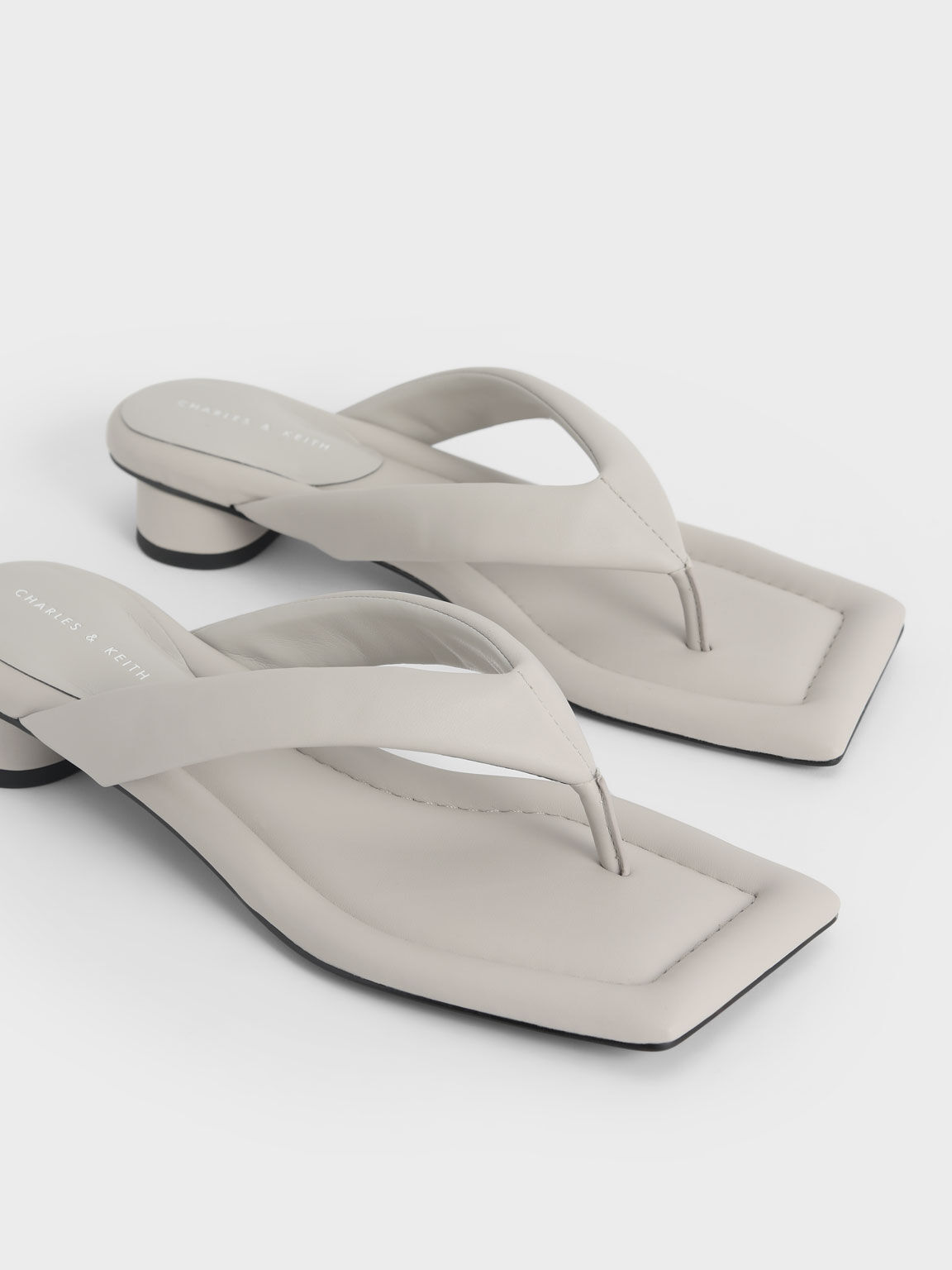 Padded Thong Sandals, Grey, hi-res