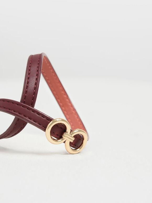 Double Wrap Around Belt Bracelet, Burgundy, hi-res