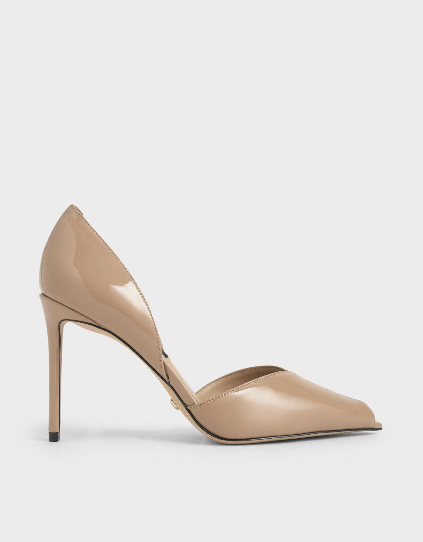 Nude Leather Peep-Toe D'Orsay Pumps