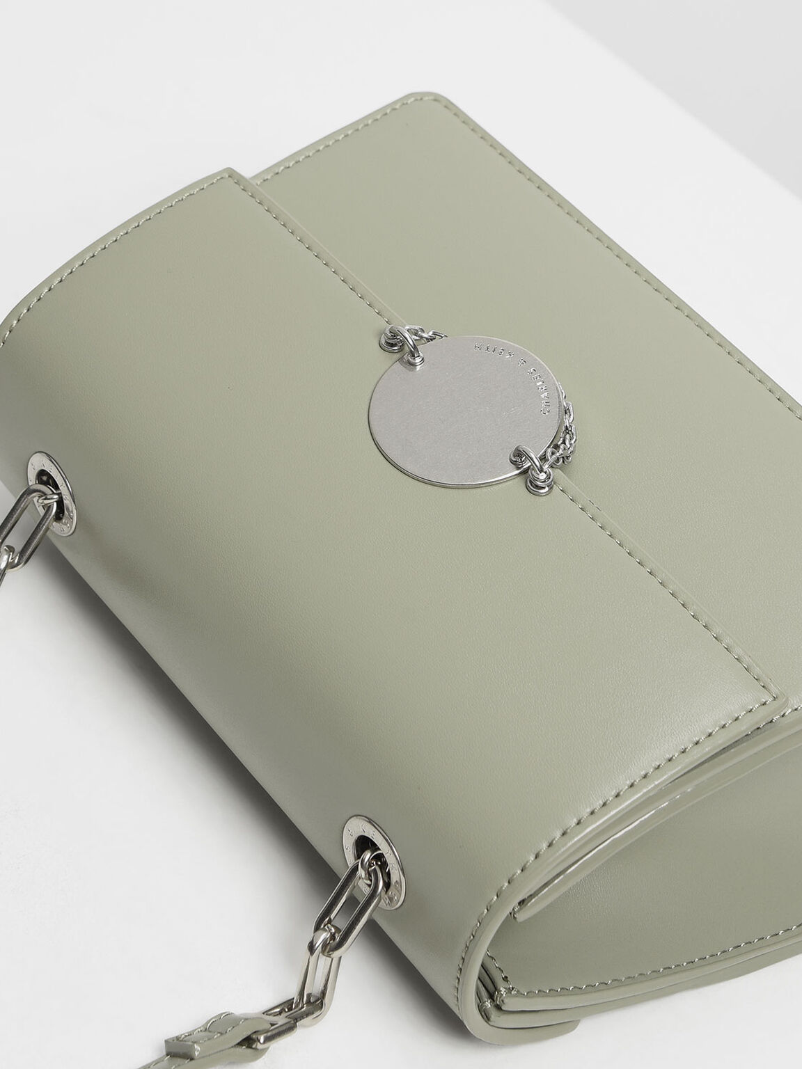 Chain Link Clutch & Crossbody, Sage Green, hi-res