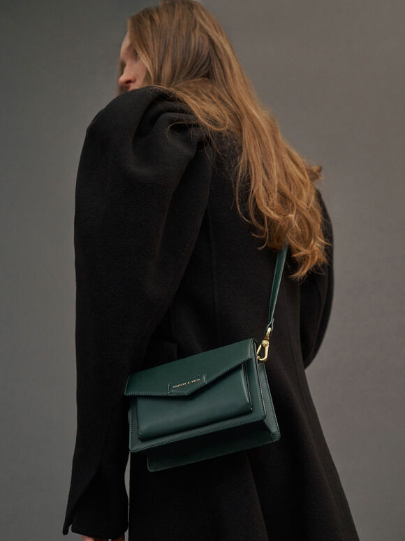 Envelope Crossbody Bag, Green, hi-res