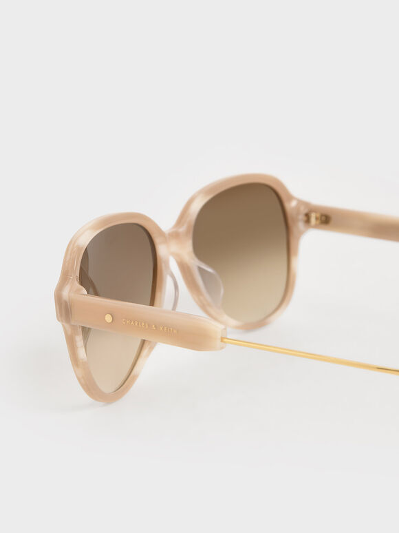 Acetate Aviator Sunglasses, Taupe, hi-res