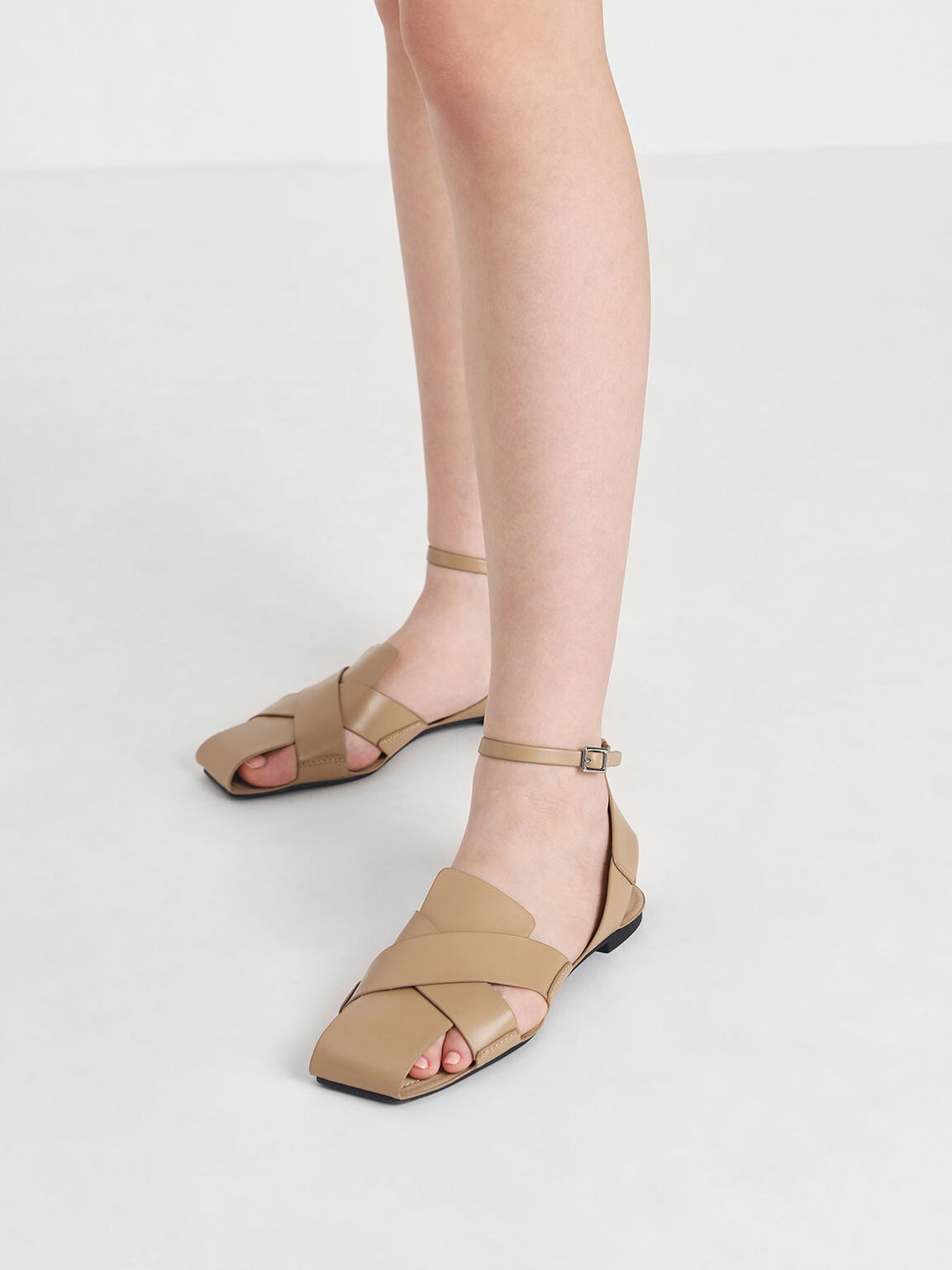 Criss Cross Peep Toe Sandals, Nude, hi-res
