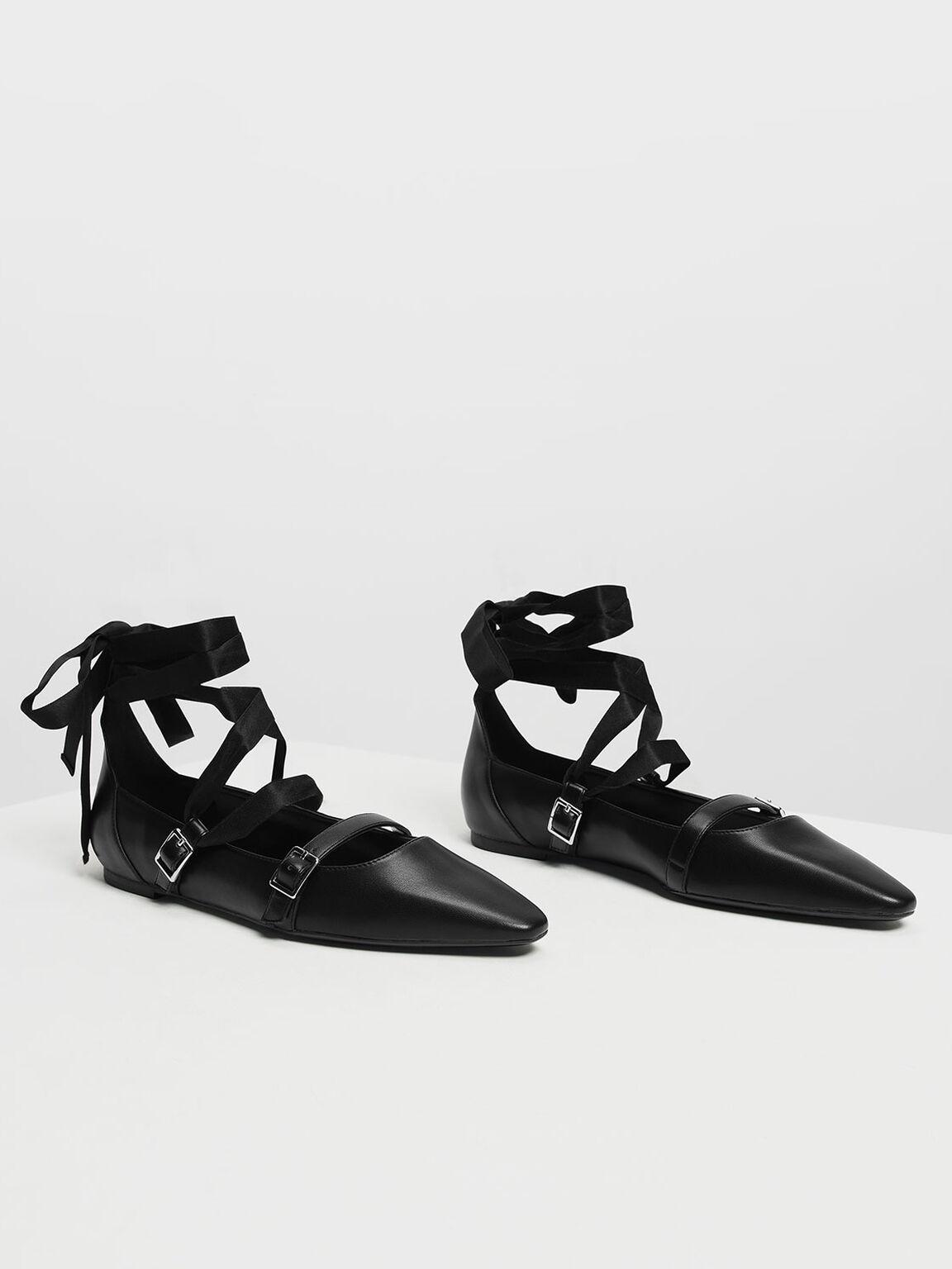 Ribbon Tie Ballerinas, Black, hi-res