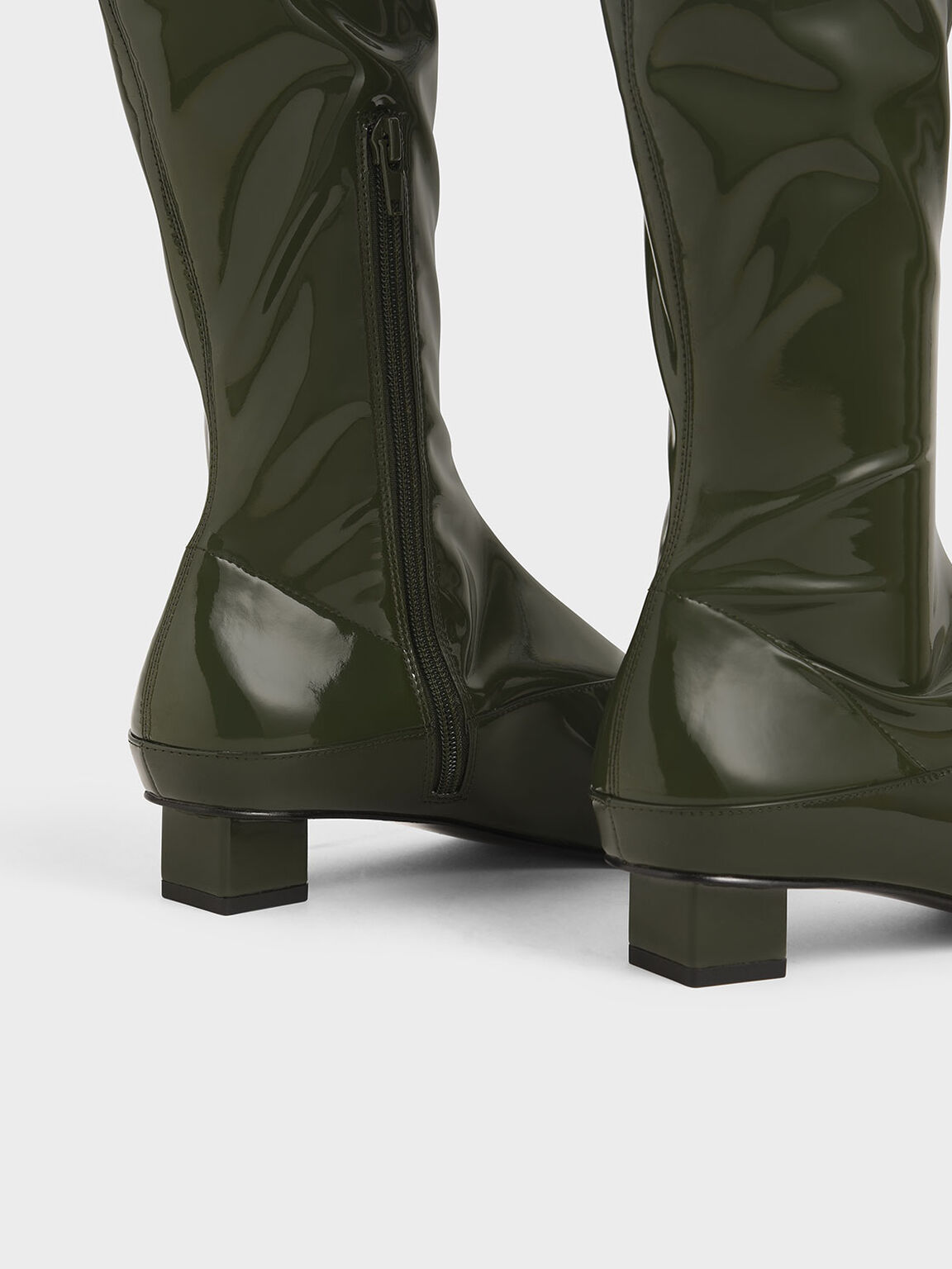 Thigh High Patent Boots, Green, hi-res