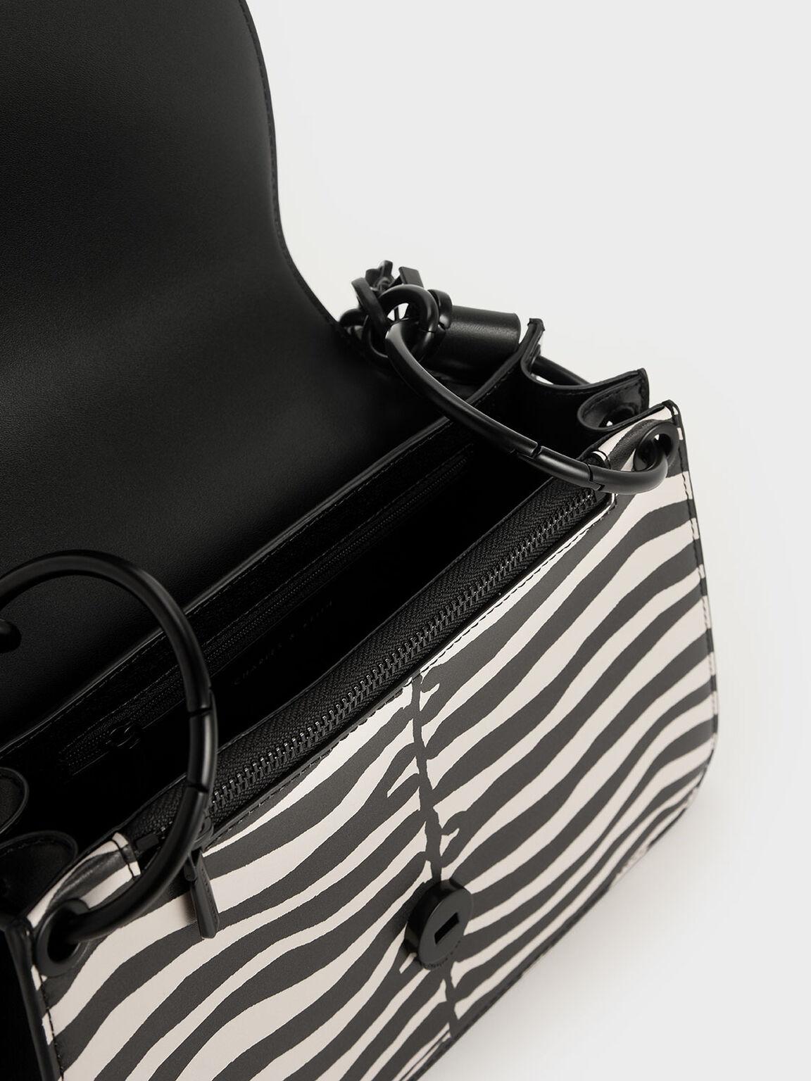 Croc-Effect Chunky Chain Link Shoulder Bag, Multi, hi-res