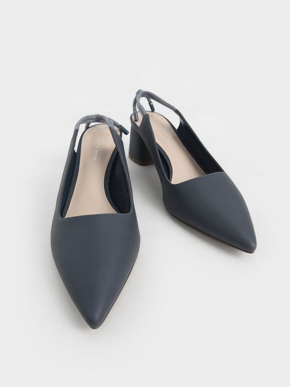 Knotted Slingback Pumps, Dark Blue, hi-res