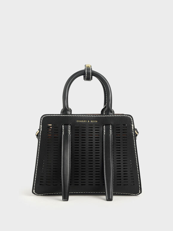 Laser-Cut Top Handle Bag, Black, hi-res