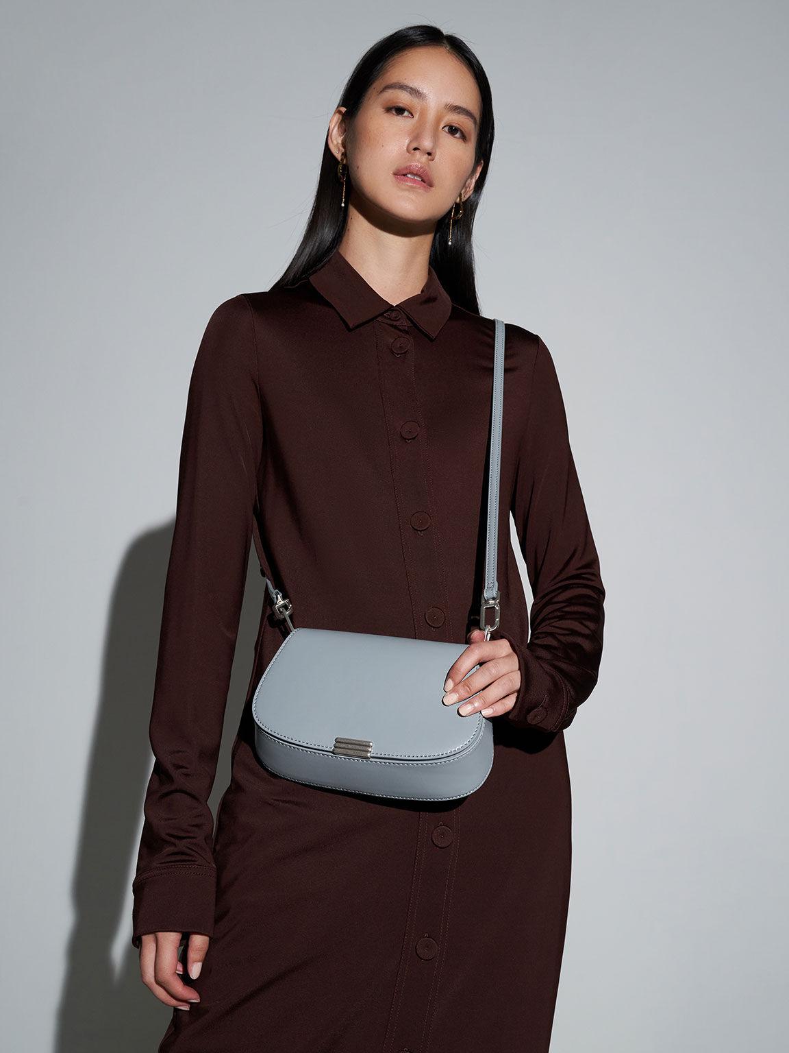 Metallic Accent Small Shoulder Bag, Steel Blue, hi-res
