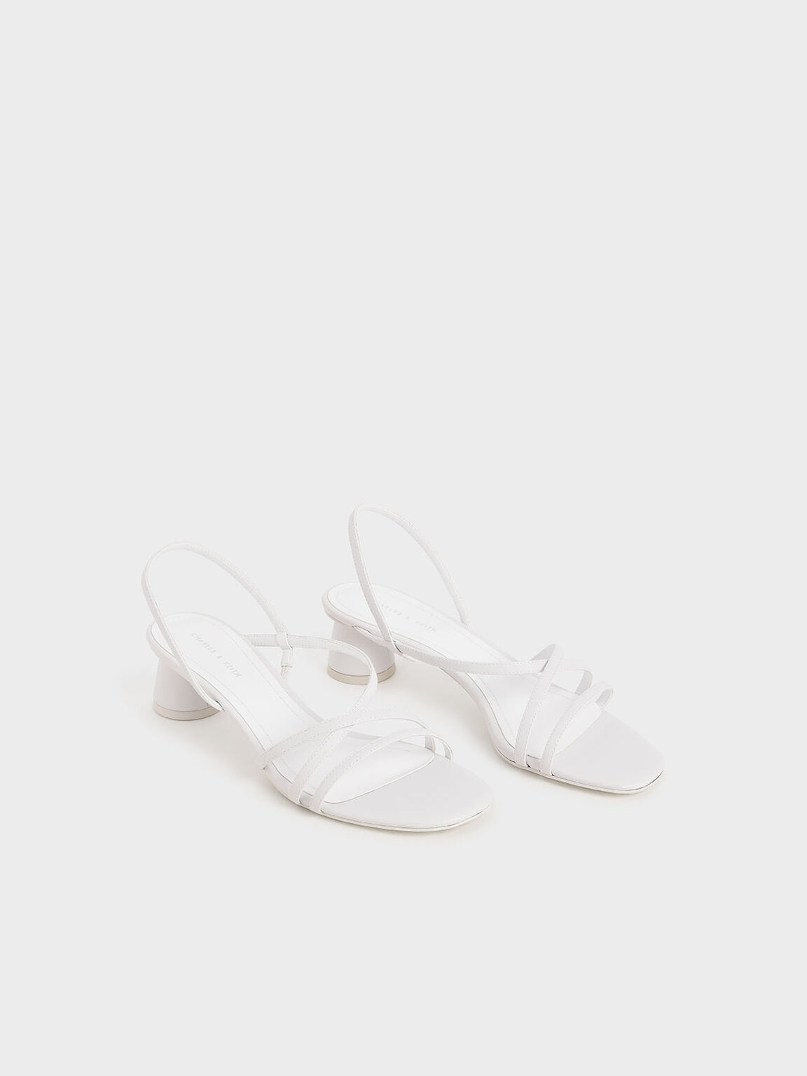 Strappy Cylindrical Heel Sandals, White, hi-res