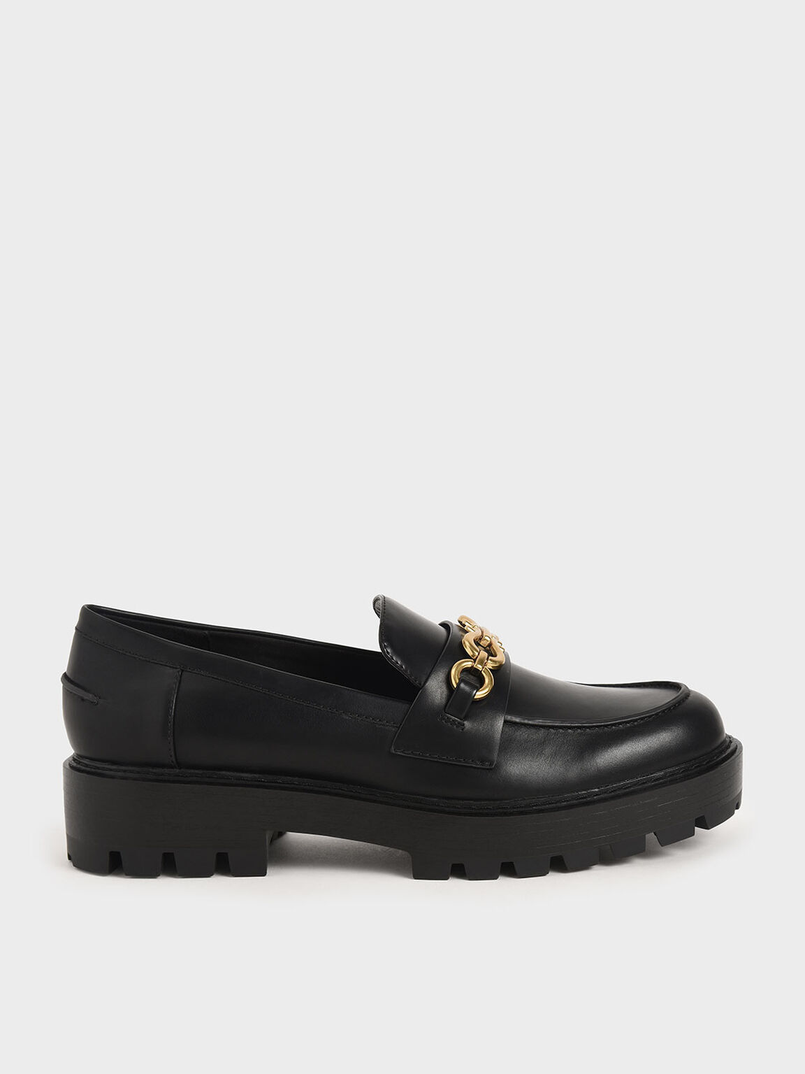馬銜鍊厚底樂福鞋, 黑色, hi-res