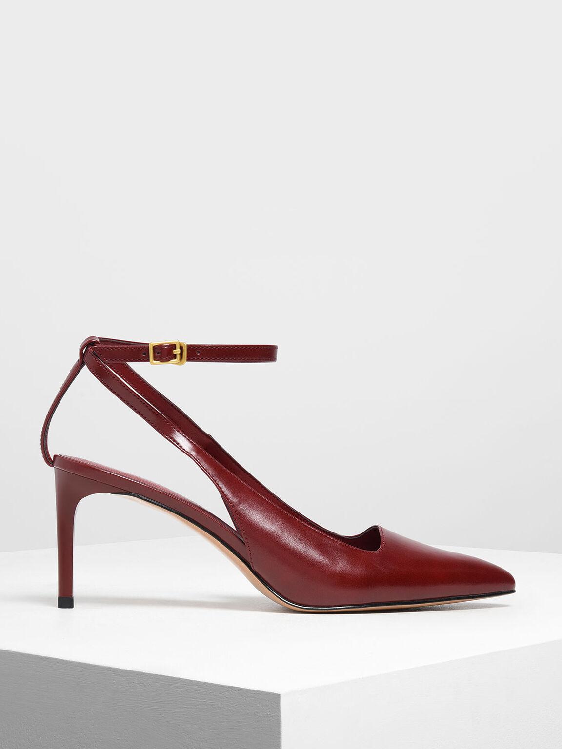 Ankle Strap Slingback Pumps, Red, hi-res