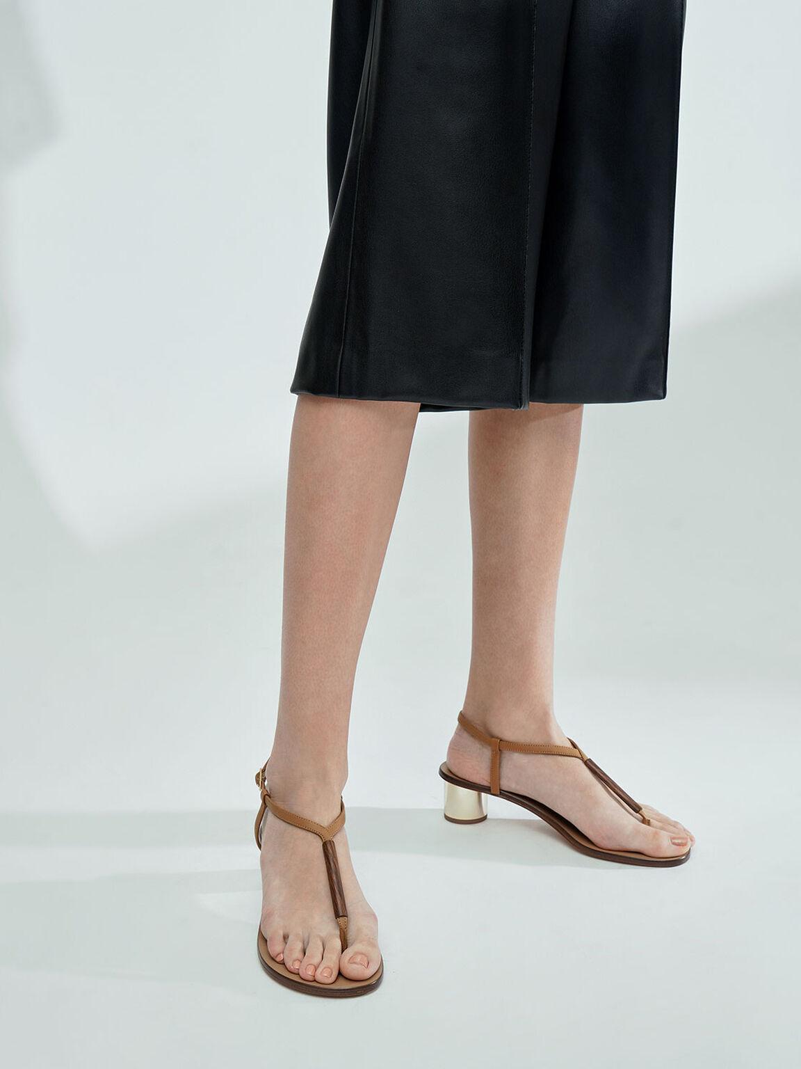 Chrome Heel Thong Sandals, Tan, hi-res