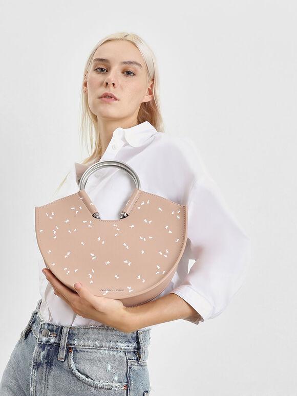 U Shape Top Handle Bag, Nude, hi-res
