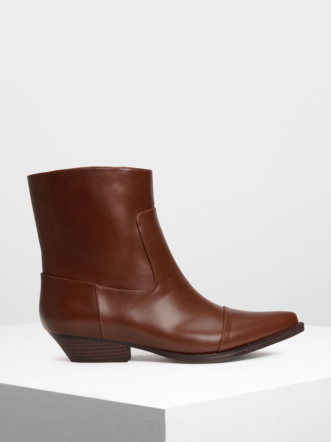 Pointed Calf Boots, Cognac, hi-res