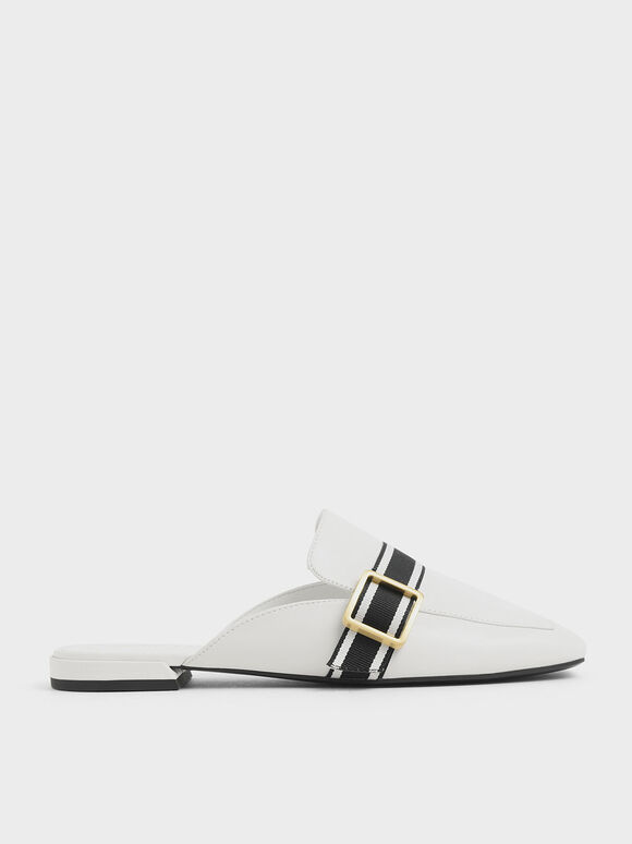 Striped Strap Loafer Mules, Cream, hi-res