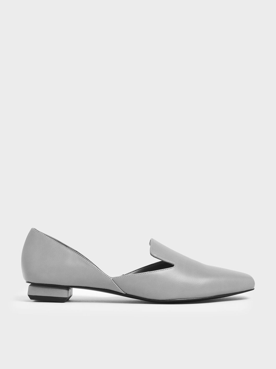 Square Toe D'Orsay Loafers, Grey, hi-res