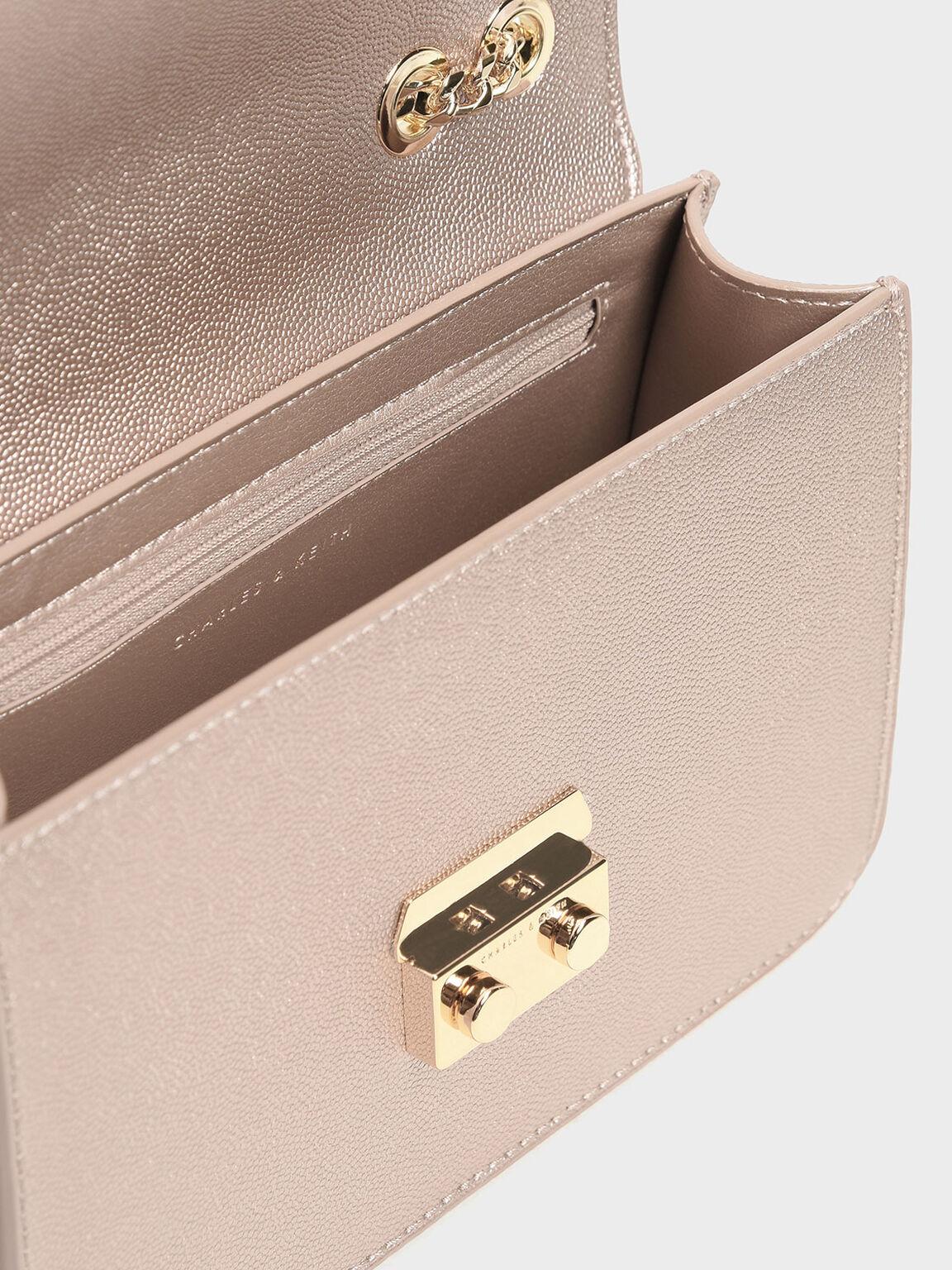 Embellished Push Lock Clutch, Rose Gold, hi-res