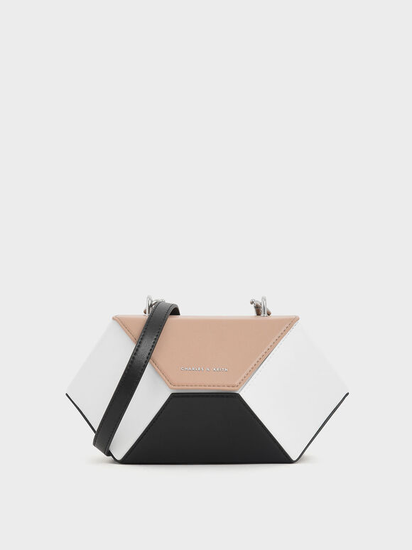 Two-Tone Demi Chain Handle Hexagon Bag, Multi, hi-res