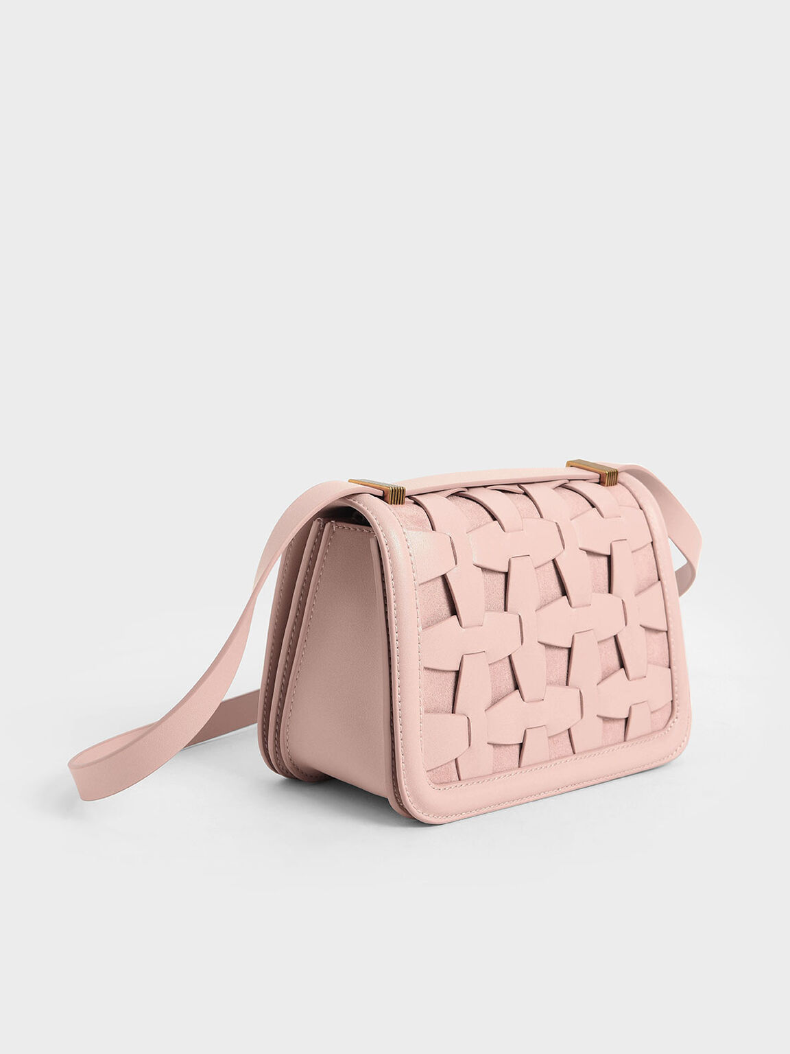Weave Detail Shoulder Bag, Pink, hi-res