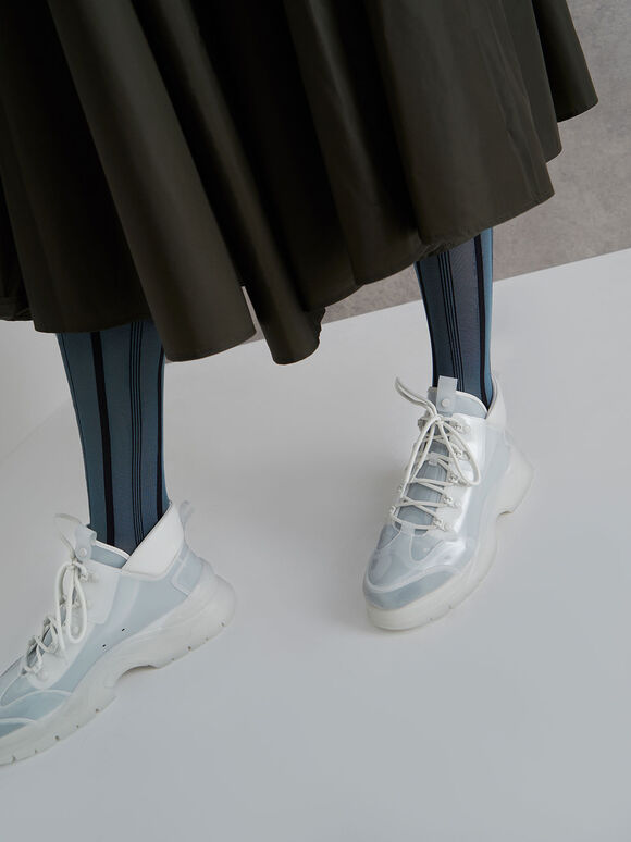 Chunky High Top Trainers, White, hi-res