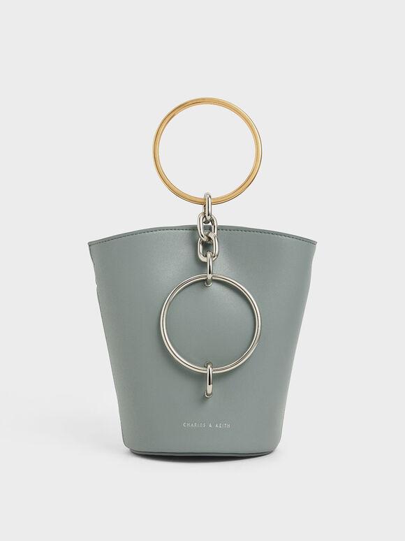 Croc-Effect Bracelet Bucket Bag, Sage Green, hi-res