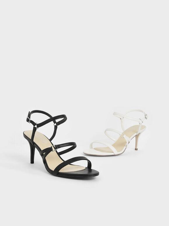 Triple Strap Stiletto Heels, Black, hi-res
