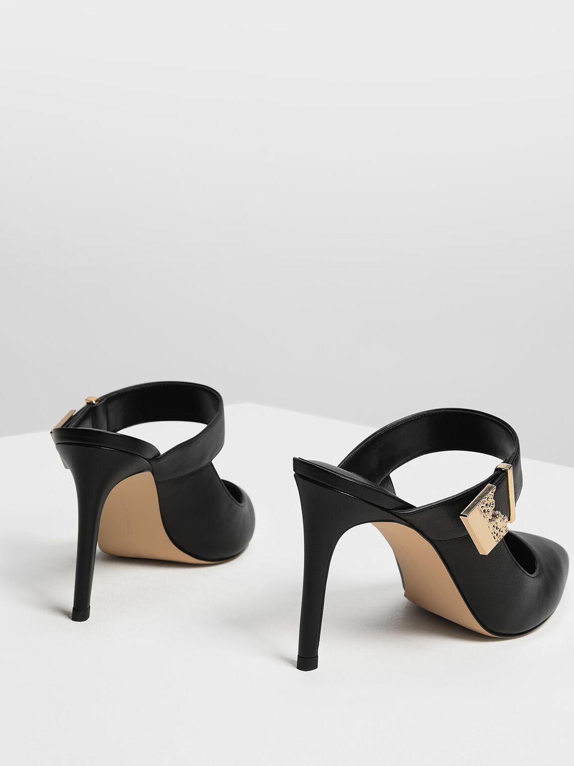 Shiny Ornamental Tab Buckle Heels, Black, hi-res