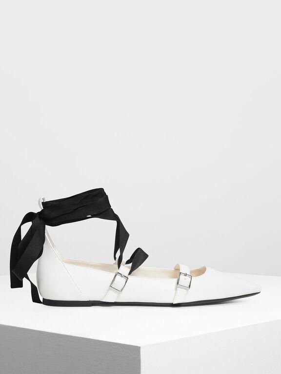 Ribbon Tie Ballerinas, White, hi-res