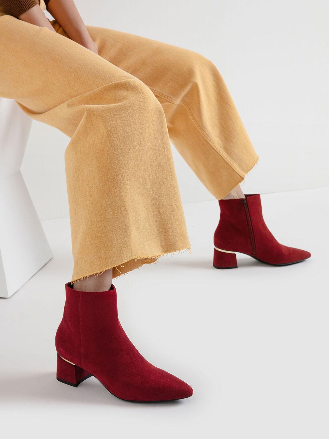 Metal Accent Block Heel Textured Ankle Boots, Red, hi-res