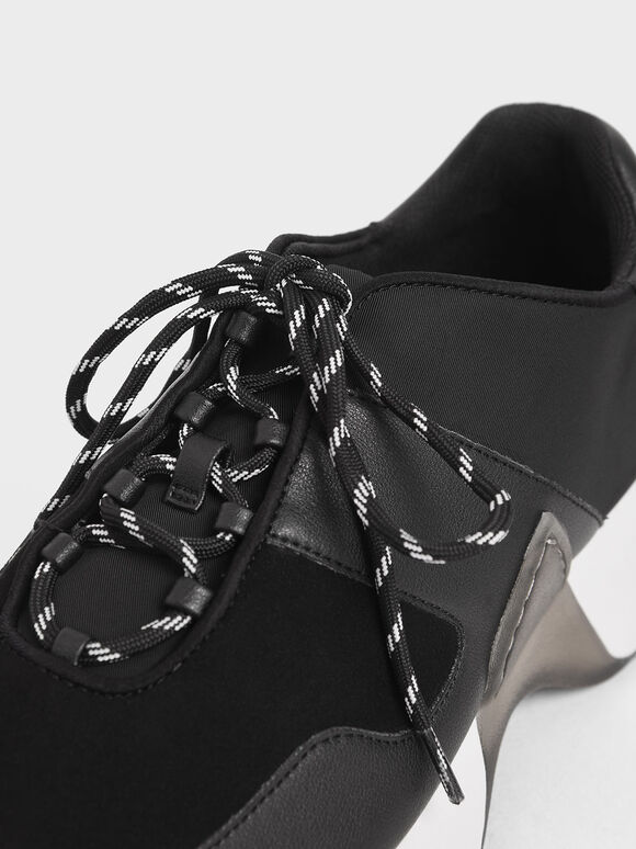 Textured Lace-Up Sneakers, Black, hi-res