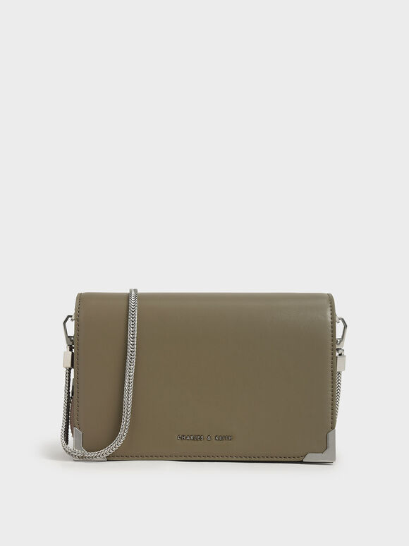 Metallic Edge Crossbody Bag, Grey, hi-res