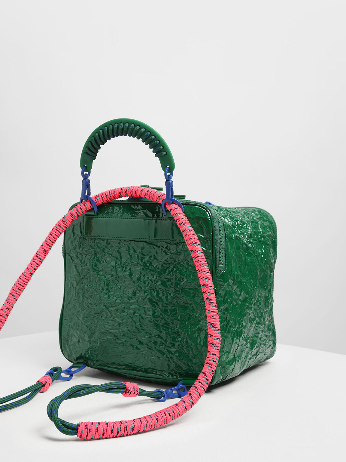 Rope Handle Wrinkled Effect Patent Backpack, Green, hi-res
