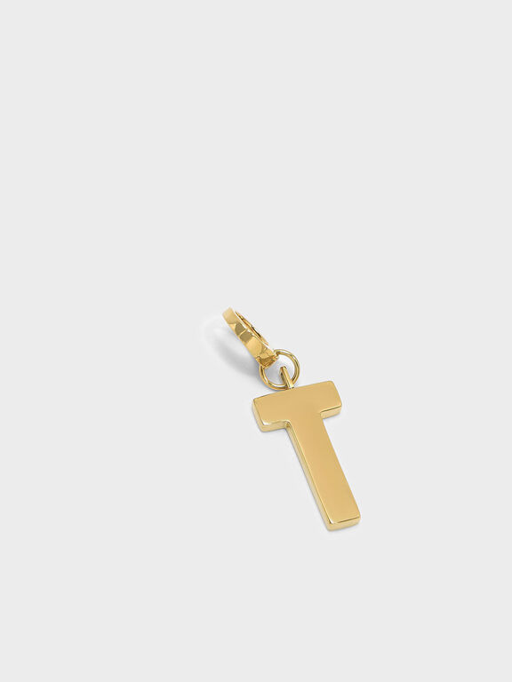 Gold Alphabet Keychain, Gold