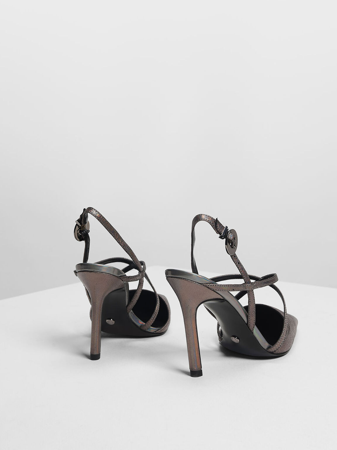 Strappy Criss Cross Leather Heels, Pewter, hi-res