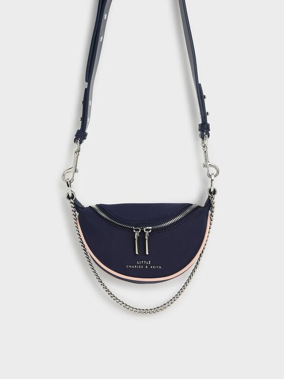Chain-Embellished Crossbody Bag, Dark Blue, hi-res