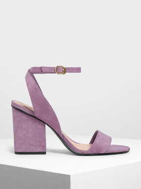Ankle Strap Block Heel Sandals, Lilac