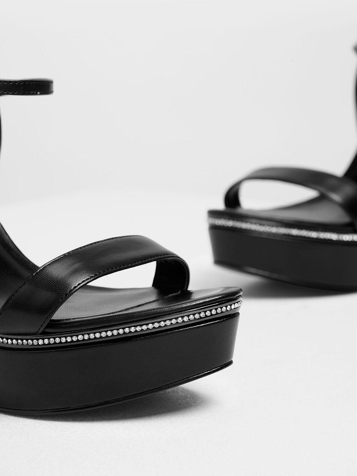 Gem Encrusted Platform Heels, Black, hi-res