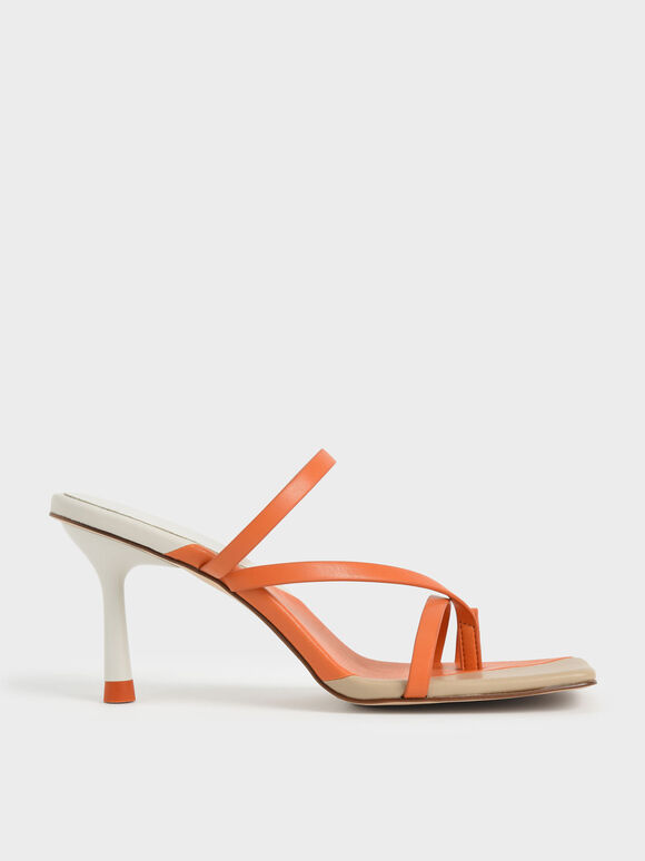 Molly Chiang Collection: Asymmetric Toe Ring Sandals, Orange, hi-res