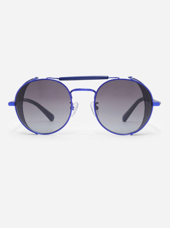 Mesh Detail Round Sunglasses, Navy, hi-res