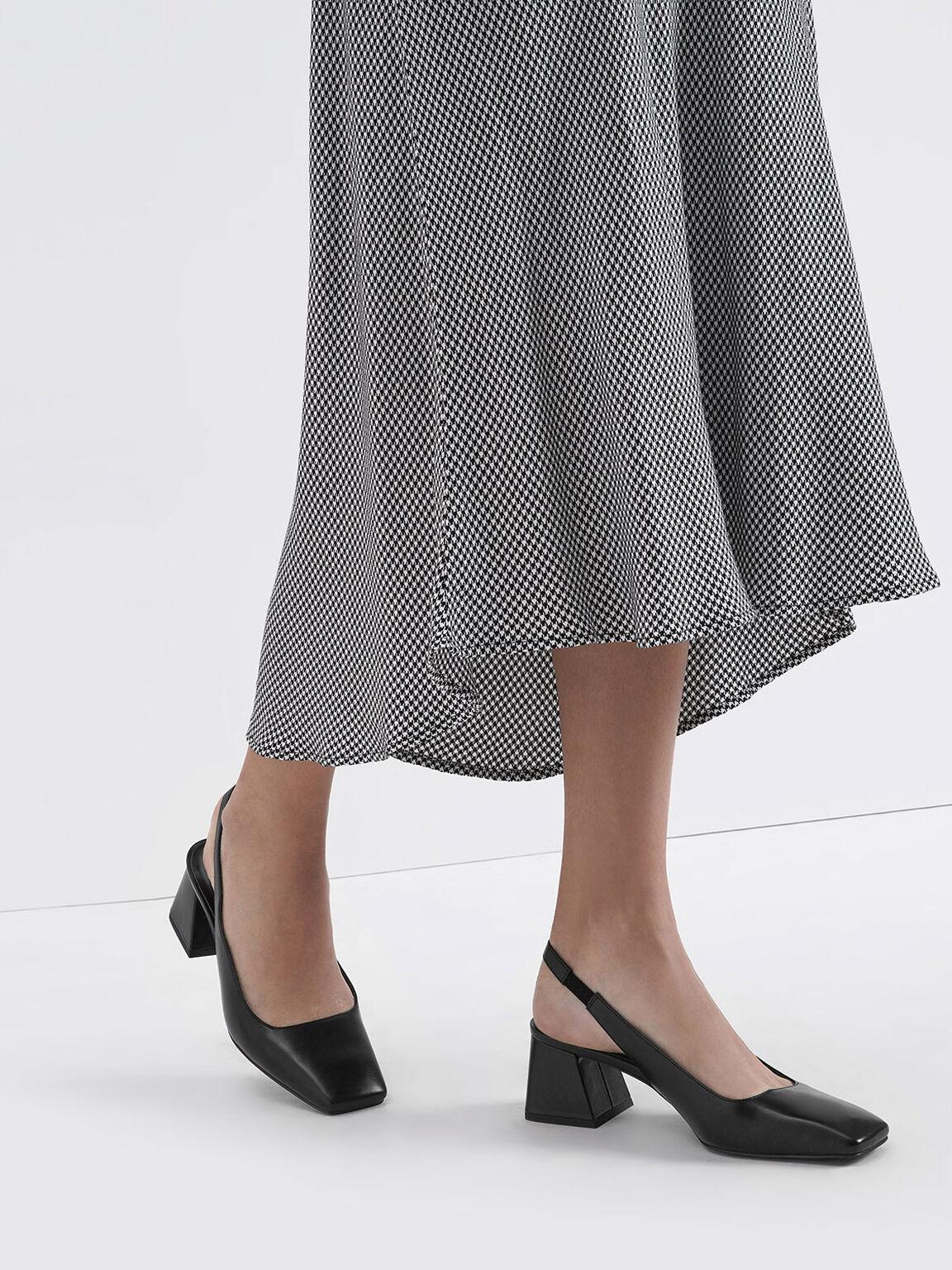 Square Toe Slingback Heels, Black, hi-res