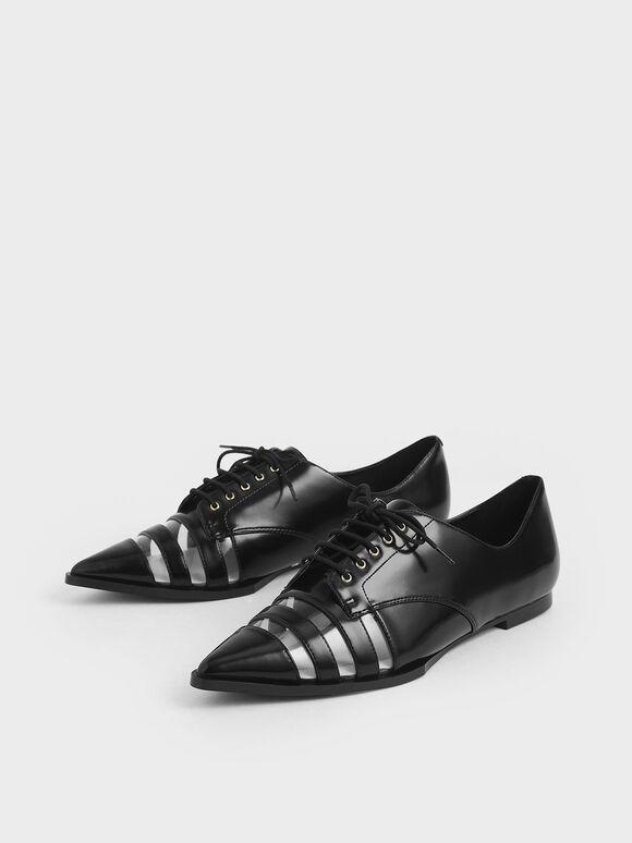 See-Through Oxford Shoes, Black, hi-res