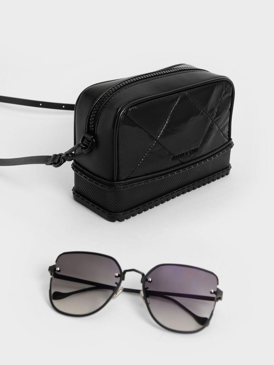 Quilted Top-Zip Crossbody Bag, Black, hi-res